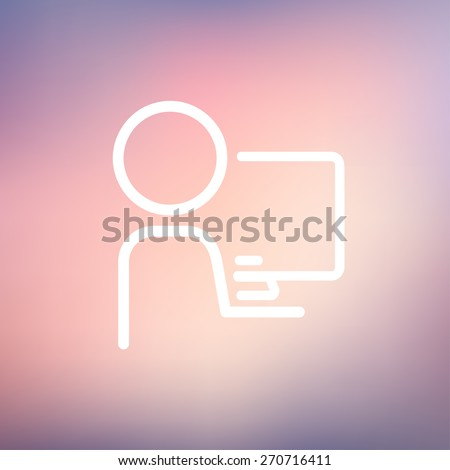 Man working on computer icon thin line for web and mobile, modern minimalistic flat design. Vector white icon on gradient mesh background. - stock vector