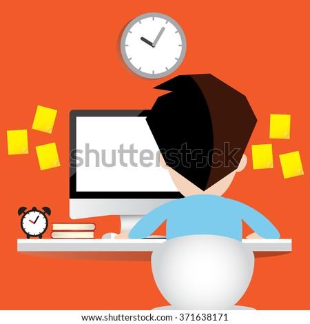Man working on desktop computer. - stock vector