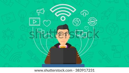 Man working on laptop. - stock vector