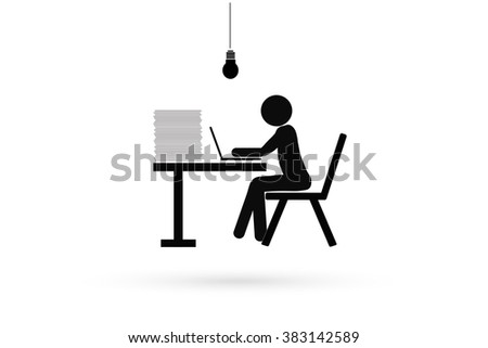 man working on laptop at the table. - stock vector