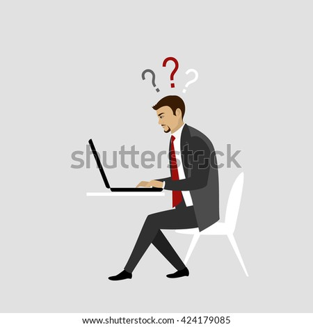 Man Working On laptop Computer.Businessman or office worker. Vector illustration - stock vector