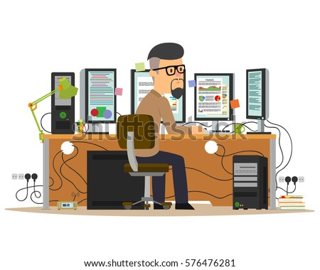 man working on the computer. jobs with multiple monitors. vector illustration.