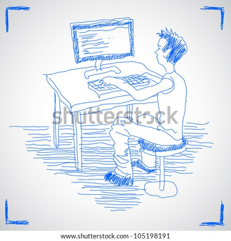 Man working with computer. Hand drawn sketch illustration isolated on white background - stock vector