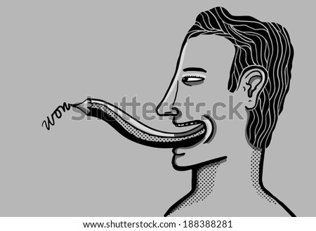Man writing with his pencil tongue - stock vector