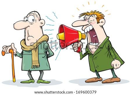 Man yelling at a deaf man. - stock vector