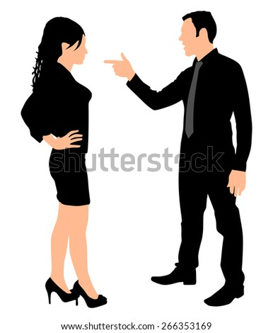 Man yelling pointing at woman, vector - stock vector