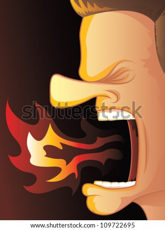 Man Yelling with Hot Fire Burning His Mouth/Fully editable vector illustration - stock vector