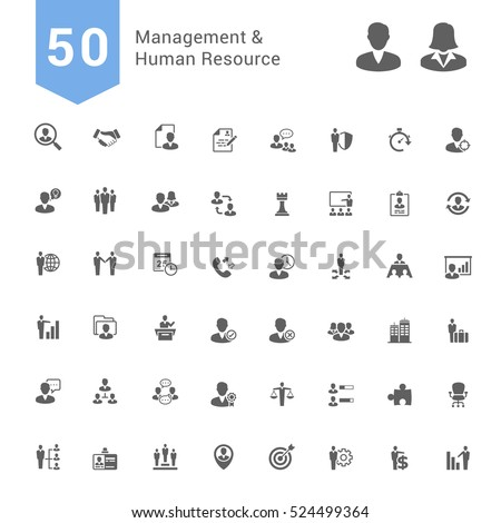Management and Human Resource Icon Set. 50 Solid Vector Icons
