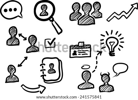 Management and human resources doodle icons - stock vector