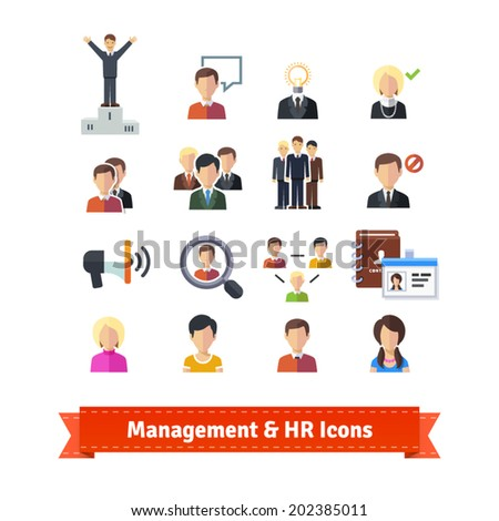 Management and human resources flat icons set. Business persons, HR accounting. EPS 10 vector. - stock vector