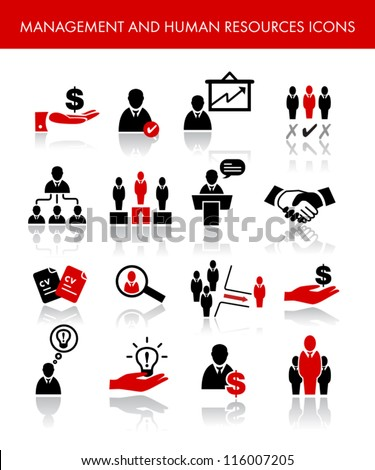 Management And Human Resources Icons - stock vector