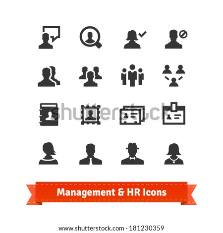 Management and human resources icons set. Business persons, HR accounting. - stock vector