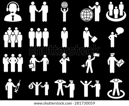 Management and people occupation icon set. These flat symbols use white color. Vector images are isolated on a black background. Angles are rounded.