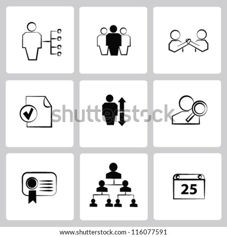 Management,Business,Human resource,icon set,Vector - stock vector