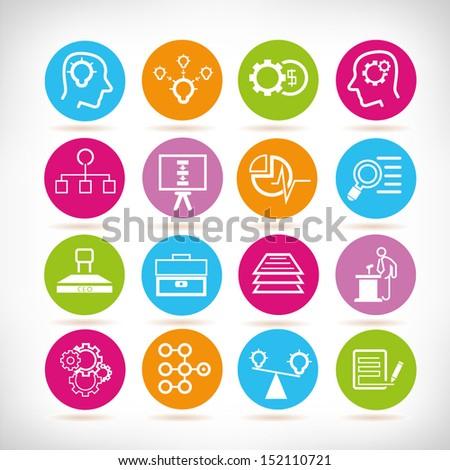 management concept icons, round button set - stock vector