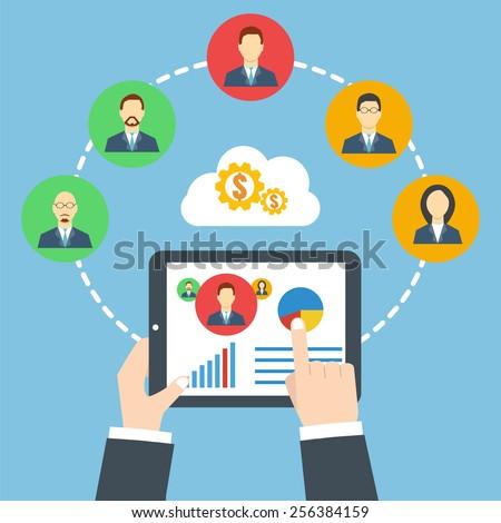 Management concept. Remote business. Project management.  Businessman holding a tablet. - stock vector