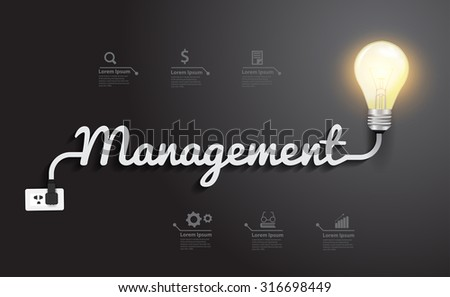 Management concept with creative light bulb idea, Vector illustration modern design template - stock vector