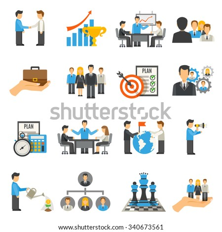 Management flat icons set with businessmen on work meeting and conferences isolated vector illustration - stock vector