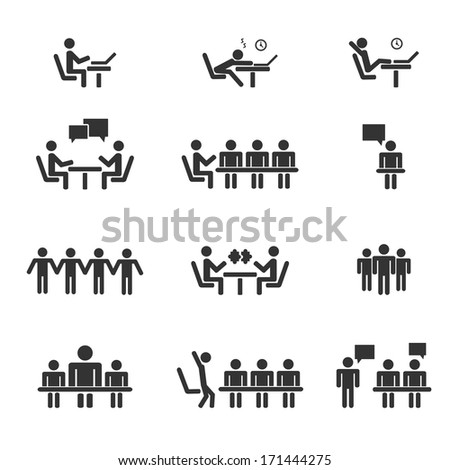 Management, human resources, business persons and users. Vector icons set. - stock vector