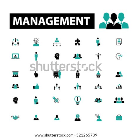 management, human resources icons - stock vector