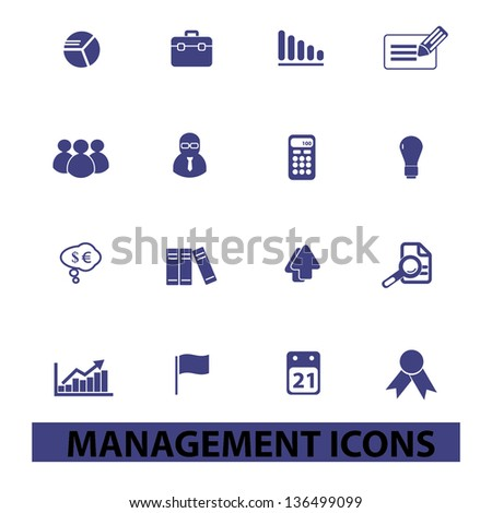 management, human resources, organisation icons, signs set, vector - stock vector