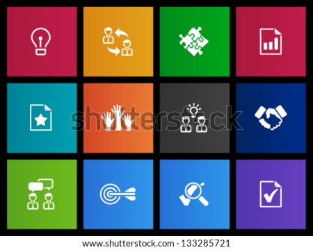 Management icon series  in Metro style - stock vector
