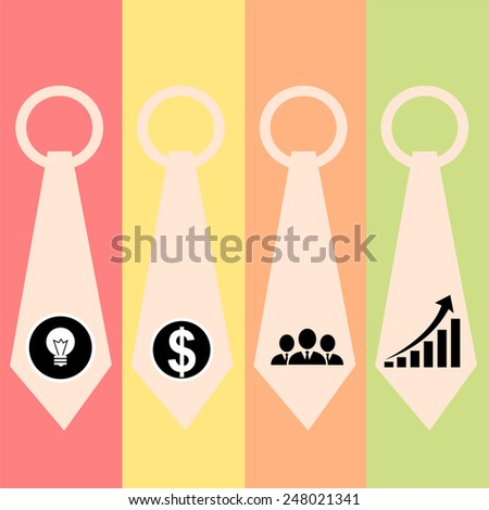 management icons set with neck tie.vector - stock vector