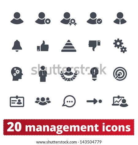 Management icons: vector set of business, presentation, human resources and users signs. - stock vector