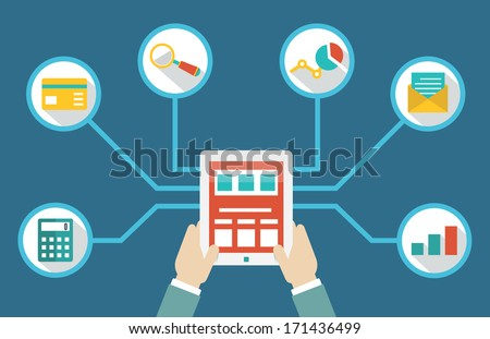 Management of money by means of tablet pc - vector illustration - stock vector