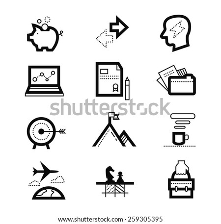 management or analytics, e-commerce, web design objects, business, office and marketing items. flat icons vector