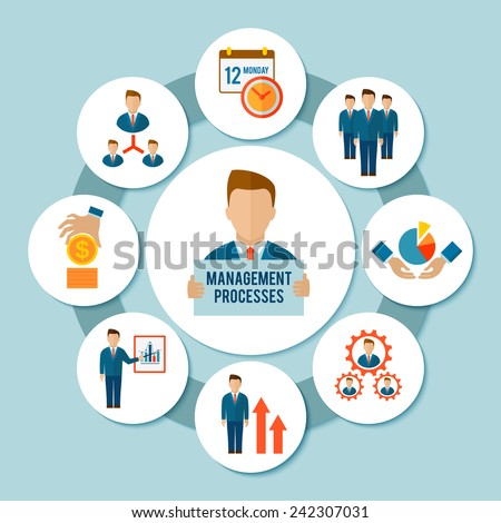 Management process concept with effective business flat icons set vector illustration - stock vector