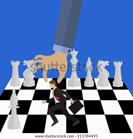 Management vector concept of the boss moving an employee on a chess board with white chess pieces - stock vector