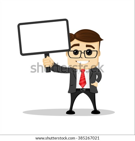 Manager character with plate. Holding plate in his hand and smiling. One hand in his pocket. - stock vector