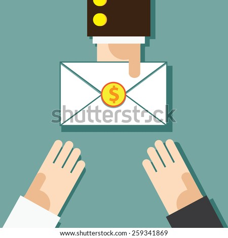 Manager gives the Salary money Envelope to Business Man - stock vector