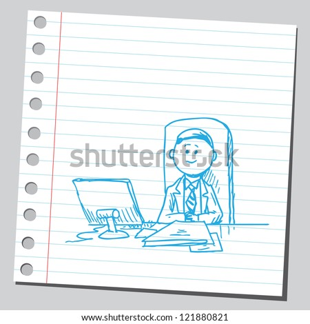 Manager in office - stock vector