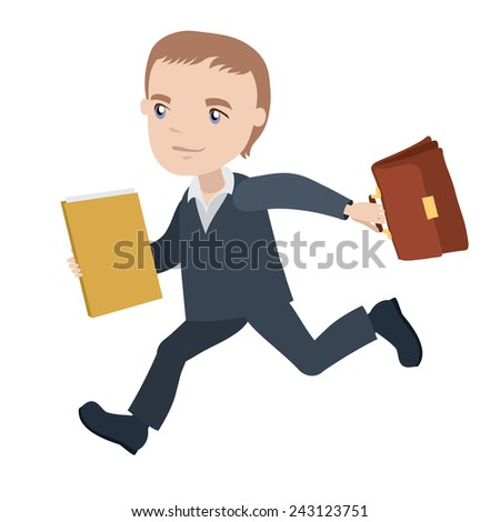 manager is running with briefcase and folder - businessman cartoon character series of drawings - stock vector