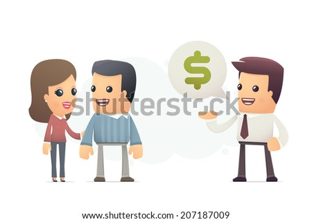 Manager offers customers a better deal. conceptual illustration - stock vector