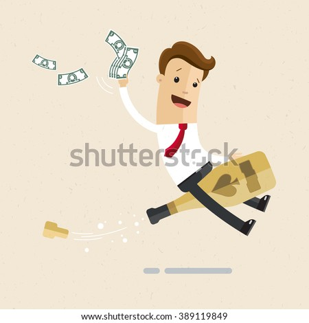 Manager or business man is sitting astride a bottle of champagne. Celebration, happy event, party. Illustration, vector EPS 10 - stock vector