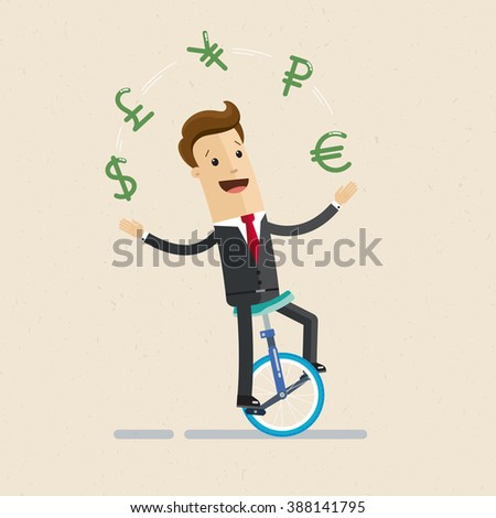 Manager or businessman rides a monocycle and juggles with signs of currencies. Icons of dollar, euro, ruble, yen, pound. Illustration, vector EPS 10 - stock vector