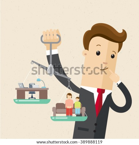 Manager or employee holds in his hands a scales. Career and family are on the scales. Businessman trying to balance his life. Illustration, vector EPS 10