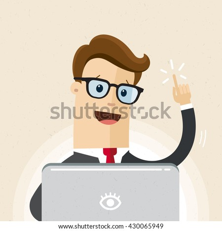 Manager or employee with  glasses is working a laptop. Illustration of idea, solution. Vector, flat - stock vector