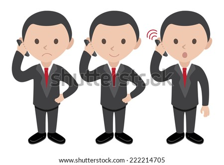 manager talking on cellphone - stock vector