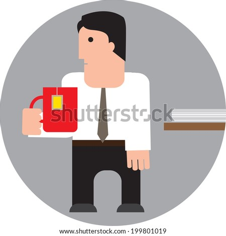 manager with a cup of tea. vector illustration - stock vector