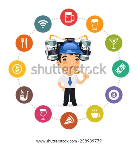 Manager with Blue Beer Helmet on His Head and Pub Icons Set. Isolated on White Background. - stock vector
