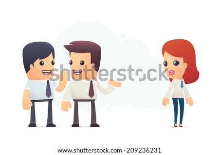 managers discuss new employee. conceptual illustration - stock vector