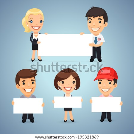 Managers With Blank Placards. In the EPS file, each element is grouped separately. - stock vector