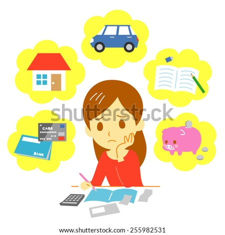Managing family finances, expenditure - stock vector