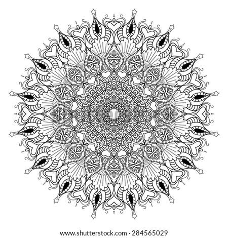 Mandala. Black ornament on a white background. - stock vector