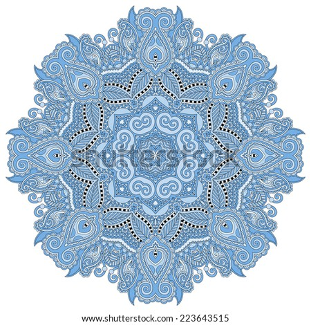 mandala, blue colour circle decorative spiritual indian symbol, round ornament pattern, vector illustration - stock vector