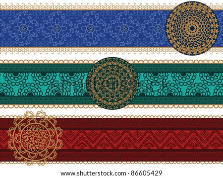Mandala borders, Henna inspired banners/borders - very elaborate and easily editable - stock vector